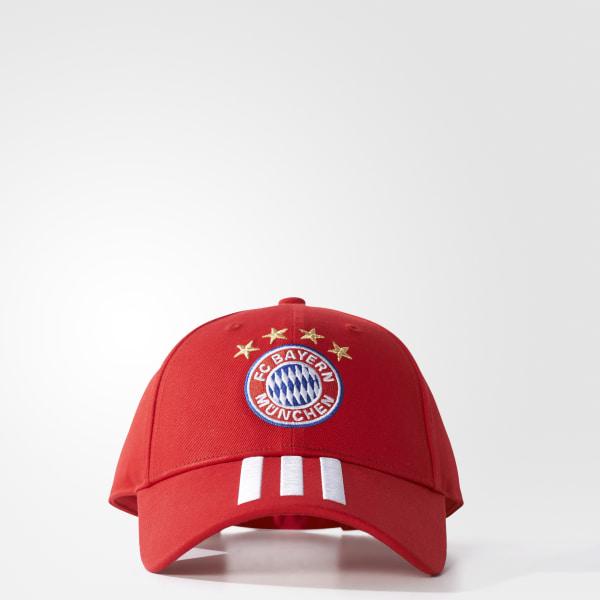 FC Bayern Munich 3-Stripes Hat Fcb True Red   White BR7060 2f37b5142ec