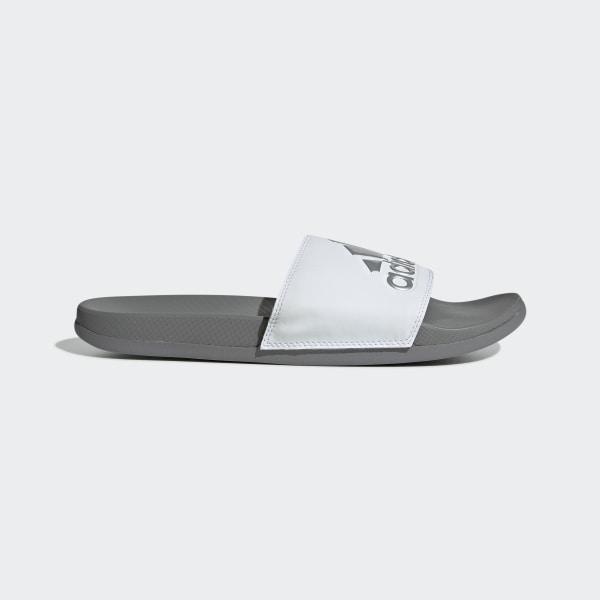 81278723153f Adilette Cloudfoam Plus Logo Slides Grey   Black   Grey Three F34724