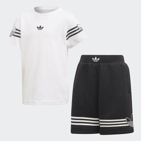 c0a49cbc781c9 Conjunto camiseta pantalón corto Outline White   Black DV2866