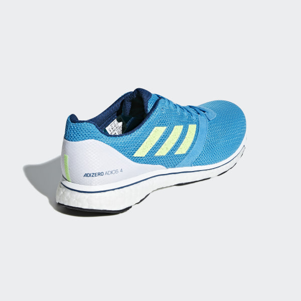 size 40 4b410 ba7be Adizero Adios 4 Shoes Shock Cyan  Hi-Res Yellow  Legend Marine B37309