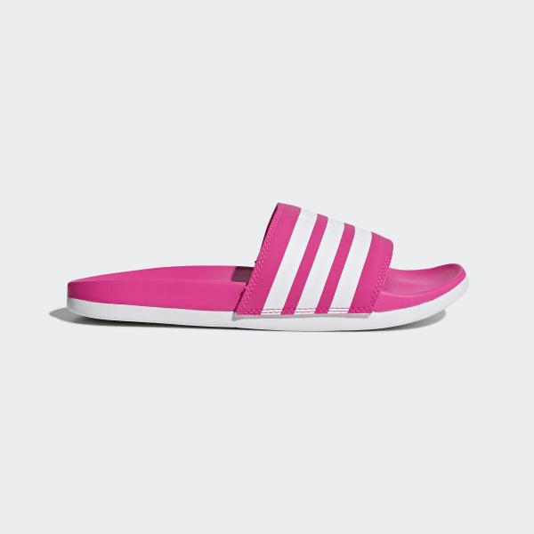 48712cc84137b5 Adilette Cloudfoam Plus Stripes Slides Shock Pink   Ftwr White   Shock Pink  B42122