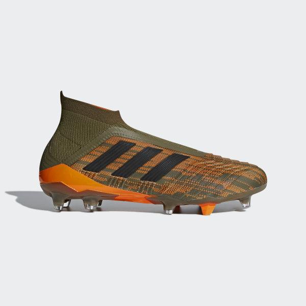 new concept e2076 42ebb Predator 18+ Firm Ground Boots Trace OliveCore BlackBright Orange CM7395
