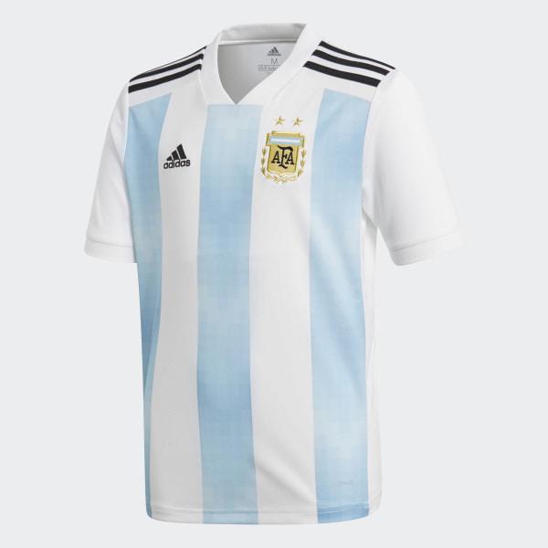 cef4c75d77600 Jersey Oficial Selección de Argentina Local Niño 2018 WHITE CLEAR  BLUE BLACK BQ9288