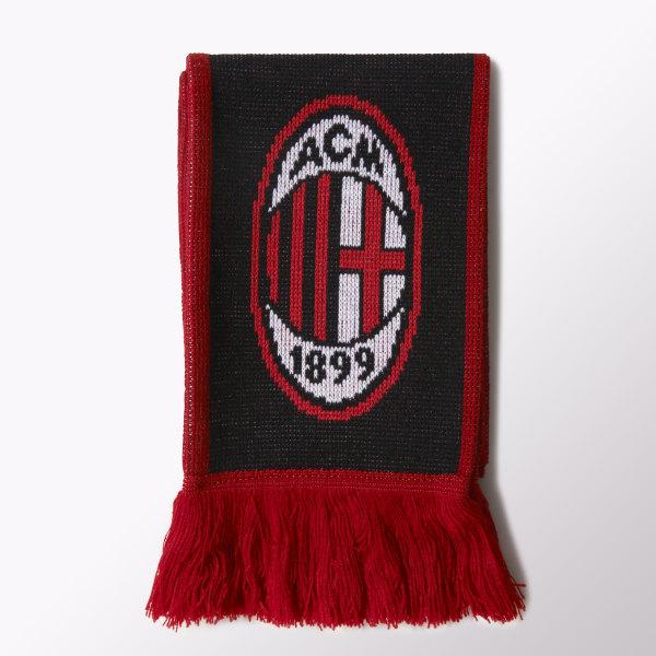 buy online 6958b 309ce AC Milan 3-Stripes Scarf Black   Core White   Victory Red M60122