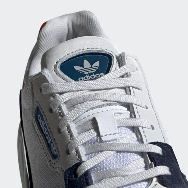 39e047686bb Falcon Shoes Crystal White   Crystal White   Collegiate Navy CG6246