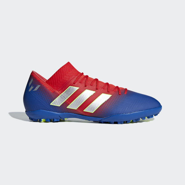 30cc7e348f0479 Nemeziz Messi Tango 18.3 Turf Shoes Active Red   Silver Metallic   Football  Blue D97267