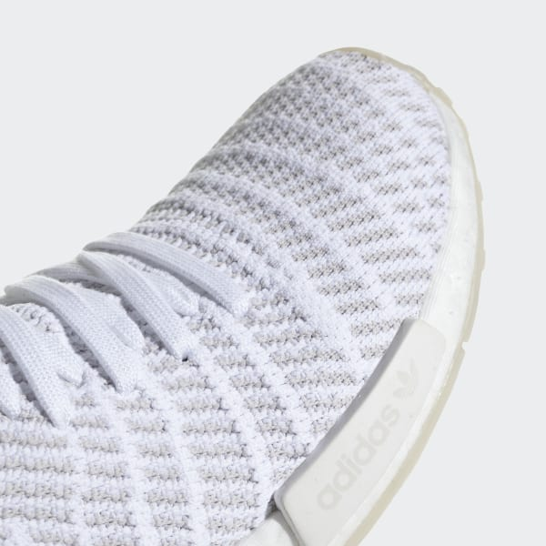 0050be5886781 NMD R1 STLT Primeknit Shoes Ftwr White   Grey One   Solar Pink CQ2390