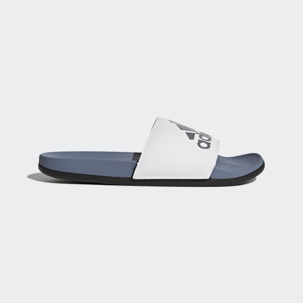 21543b69461a Adilette Cloudfoam Plus Logo Slides Raw Steel   Cloud White   Core Black  AC8412