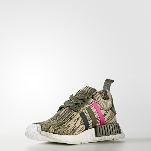 ce423b78a NMD R1 Primeknit Shoes Major   Green Night   Shock Pink BY9864