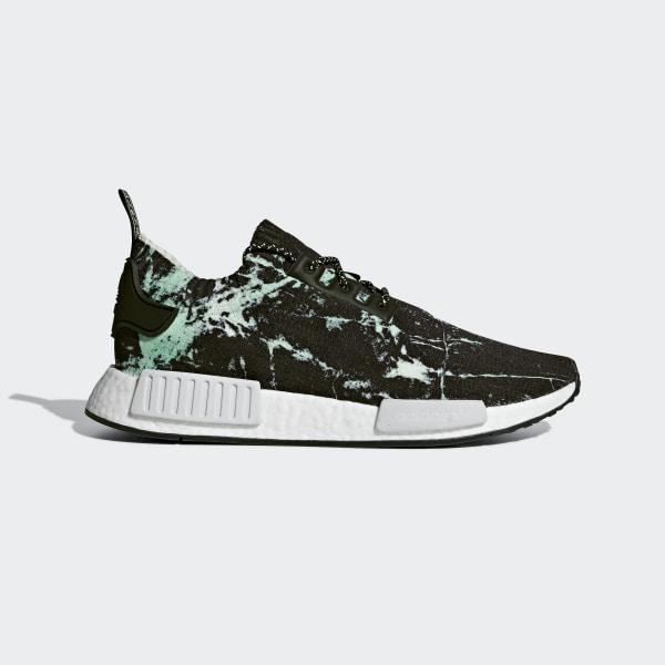e5135b89a552b NMD R1 Primeknit Shoes Core Black   Cloud White   Aero Green BB7996