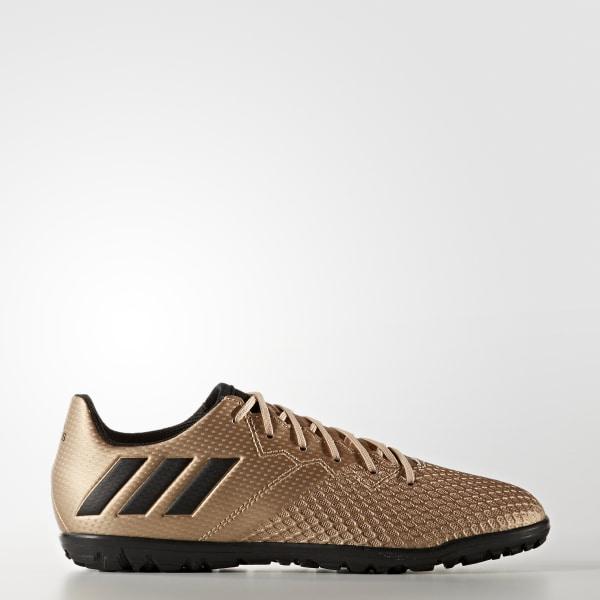 sports shoes 9d0d5 d3146 BOTINES DE FÚTBOL Messi 16.3 CÉSPED ARTIFICIAL COPPER MET. CORE BLACK SOLAR  GREEN