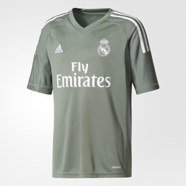 Real Madrid Home Goalkeeper Jersey Trace Green White B31102 f2dc28693
