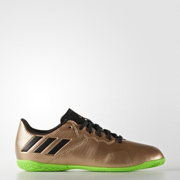 Chuteira Messi 16.4 Infantil - Futsal COPPER MET. CORE BLACK SOLAR GREEN  BA9863 d5589cb315797