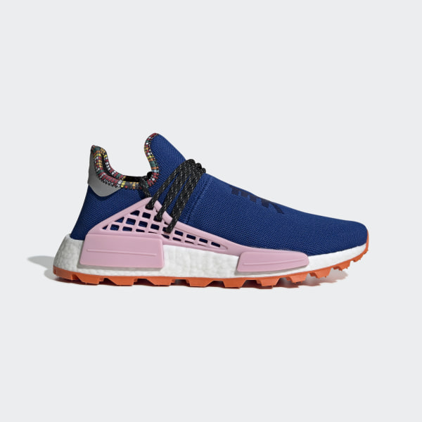 c4a25fe0f Pharrell Williams SOLARHU NMD Shoes Power Blue   Light Pink   Orange EE7579