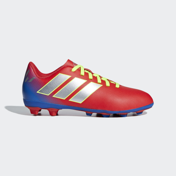 CHUTEIRA NMZ MESSI 18 4 FG JR active red silver met. football blue 46691487ec945
