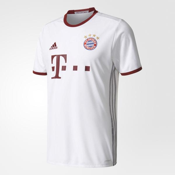 f4f0931ad6b00 de la playera del equipo Bayern München UCL WHITE LIGHT ONIX COLLEGIATE  BURGUNDY AZ4663