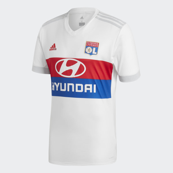 Olympique Lyonnais Home Jersey White   Collegiate Red   Collegiate Royal    Clear Grey B31050 684fa6772
