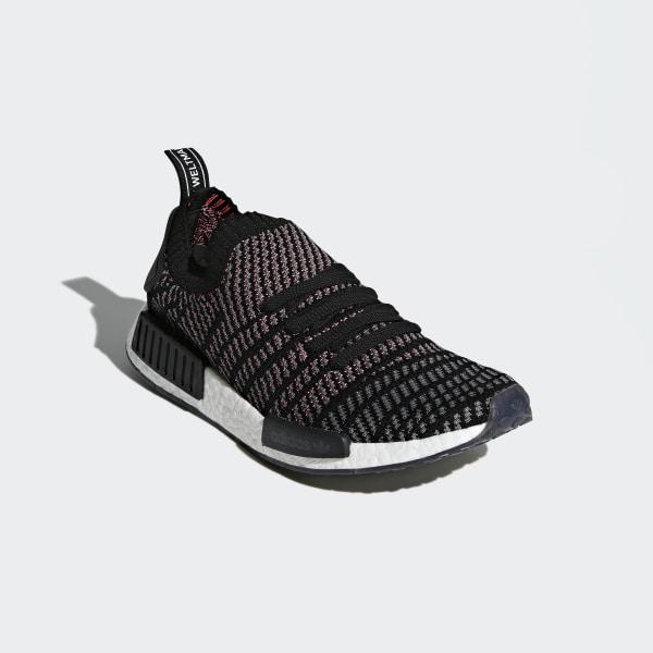 f86e00cc11c NMD R1 STLT Primeknit Shoes Core Black Grey Four Solar Pink CQ2386