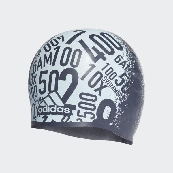 adidas Allover Print Silicone Swim Cap - Blue  88d9ab2a772d