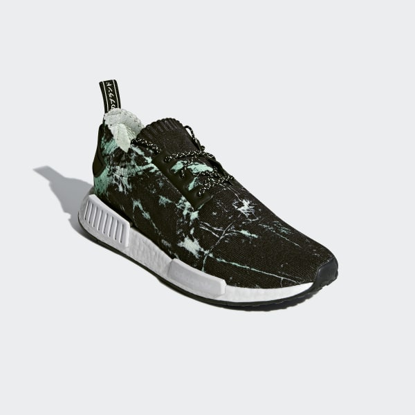 d9ce06c04 NMD R1 Primeknit Shoes Core Black   Cloud White   Aero Green BB7996