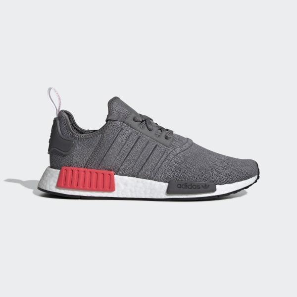 b7b36777fd3aa NMD R1 Shoes Grey Four   Grey Four   Shock Red BD7730