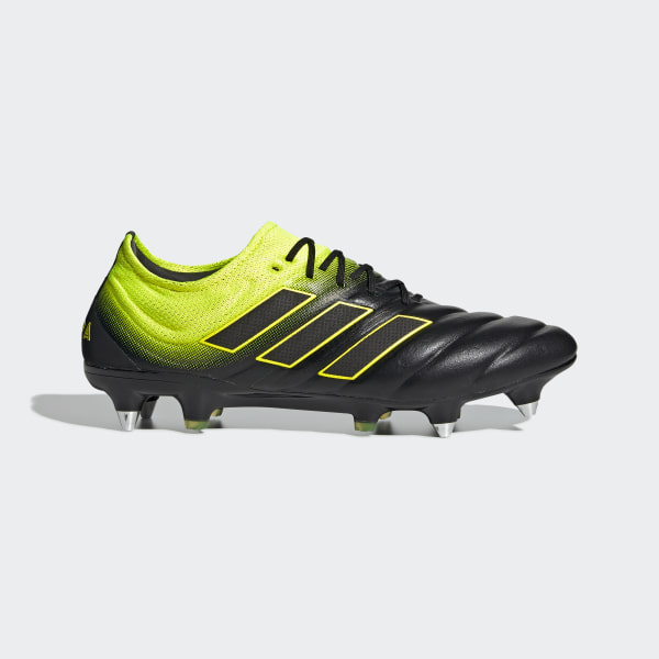 new product f7e23 b3565 Bota de fútbol Copa 19.1 césped natural húmedo Core Black   Solar Yellow    Core Black