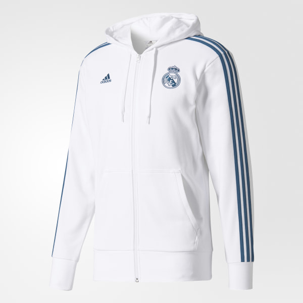 Casaca con Capucha Real Madrid 3 Tiras WHITE PETROL NIGHT F17 BR2483 189453bf783b8