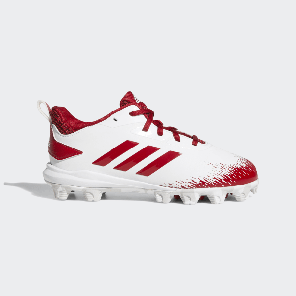 new products fb883 c147b Adizero Afterburner V MD Cleats Cloud White  Power Red  Grey One CG5238