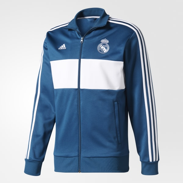 7407e9272348 Real Madrid 3-Stripes Track Jacket Petrol Night   White BR2496