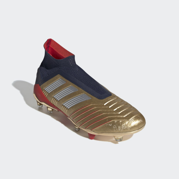 c1057d8daea Chaussure Predator 19+ Zidane Beckham Terrain souple Gold Met.   Silver Met.
