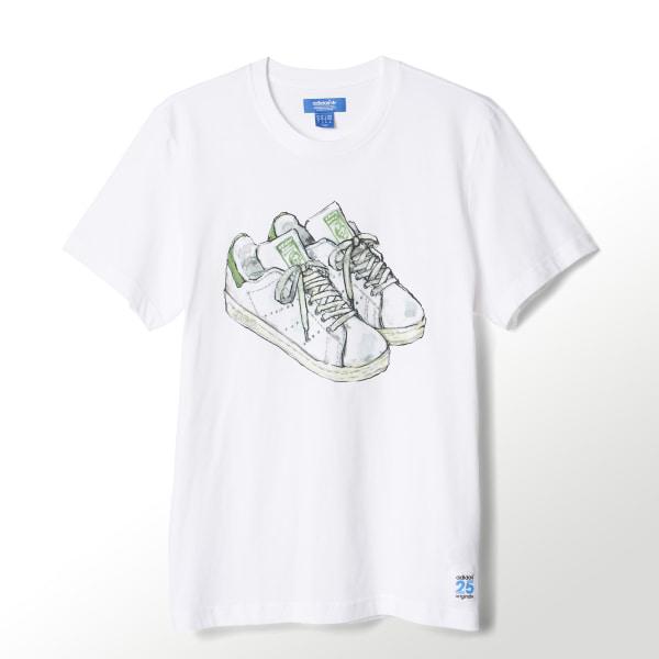 708d74dba44 adidas Camiseta Estampada Originals 25 Stan Smith Nigo - Blanco ...