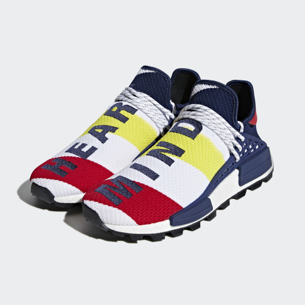 ed5390fba94f0 Pharrell Williams BBC Hu NMD Shoes Cloud White   Scarlet   Dark Blue BB9544