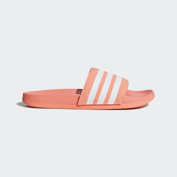 e3d83f75abbc Adilette Cloudfoam Plus Stripes Slides Pink   Ftwr White   Chalk Coral  B43528