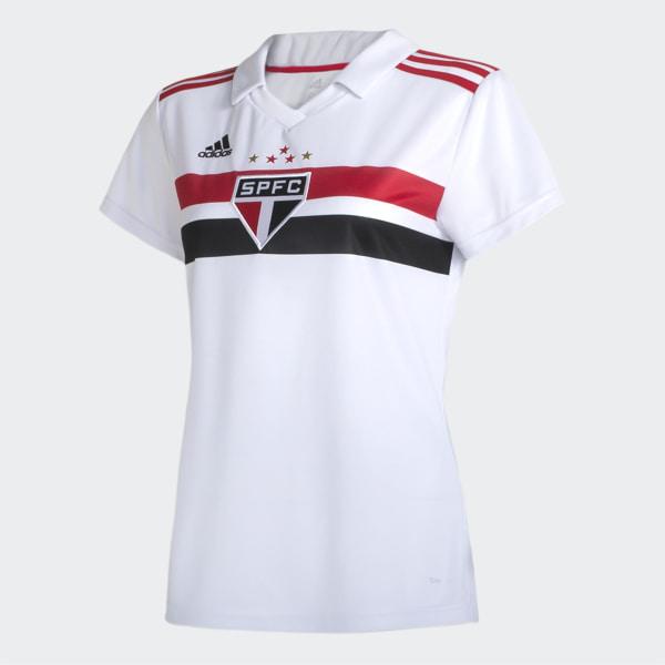 ff56ea6342 CAMISA SAO PAULO I FEMININA WHITE RED BLACK DZ5623