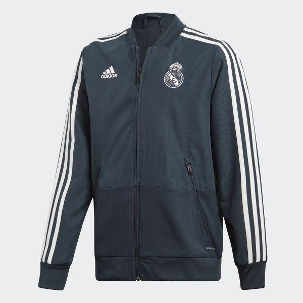 Real Madrid Presentation Jacket Blue   Black   Core White CW8637 ae7d6e3280