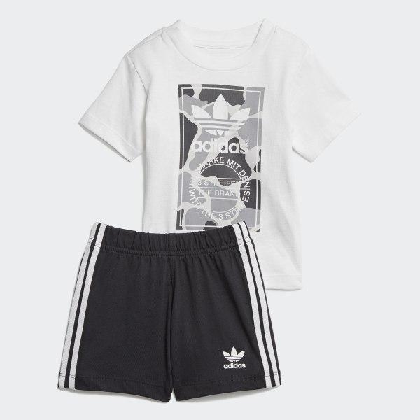 18a2cc8f212 Conjunto Shorts e Camiseta Camo Trefoil WHITE MULTICOLOR BLACK WHITE D96095