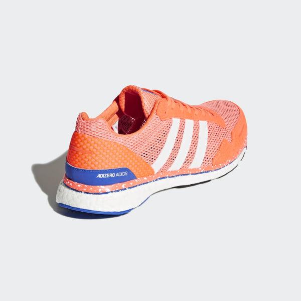 size 40 98edf b0d42 adizero Adios 3 Shoes Chalk CoralFtwr WhiteOrange BB6408