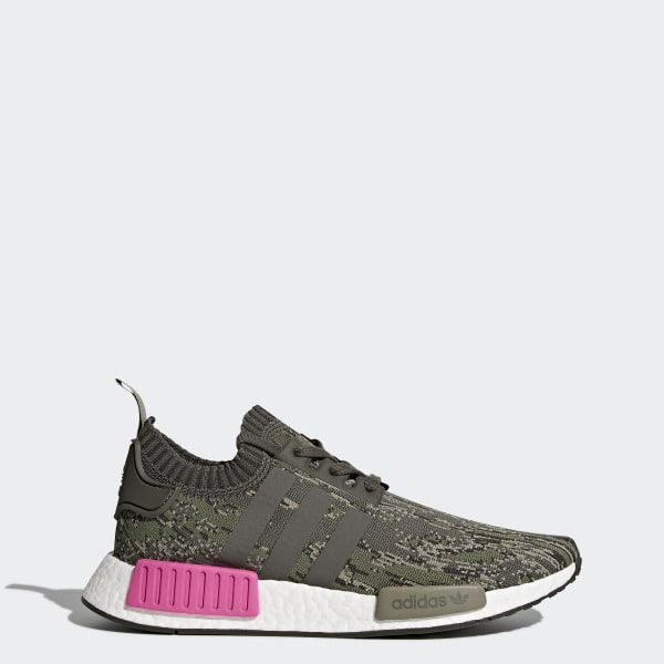 d5c62a587f0d6 NMD R1 Primeknit Shoes Green   Utility Grey   Utility Grey   Shock Pink  BZ0222