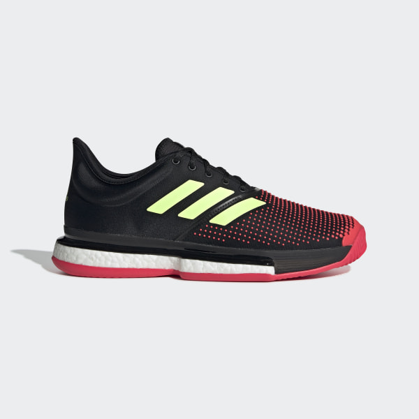 bd4225581 SoleCourt Boost M Core Black   Hi-Res Yellow   Shock Red AH2131