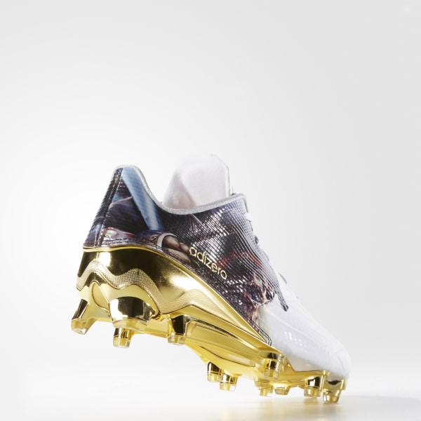 sports shoes 783a2 df46a adizero 5-Star 5.0 Uncaged Cleats Cloud White   Cloud White   Gold Metallic  D70179