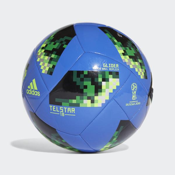 Balón Glider Copa Mundial de la FIFA 2018 HI-RES BLUE S18 SOLAR GREEN f587ec39157fe