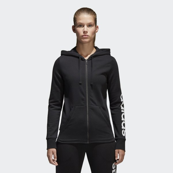 a6eccb7e99ee6 Felpa con cappuccio Essentials Linear Full Zip Black   White S97076