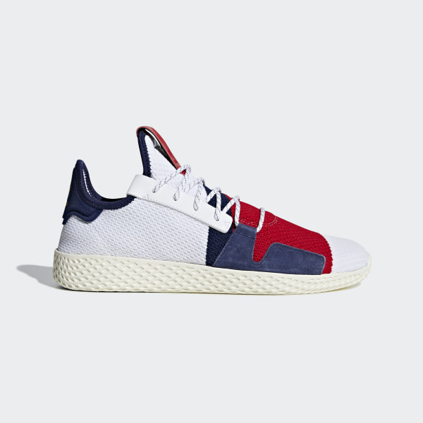10e18d0640648 Pharrell Williams BBC Hu V2 Shoes Cloud White   Scarlet   Dark Blue BB9549