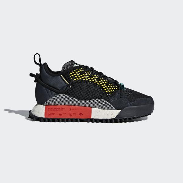 52aef0cd6c0 adidas Originals by Alexander Wang Run Mid Shoes Core Black Dark Grey Red  B43597