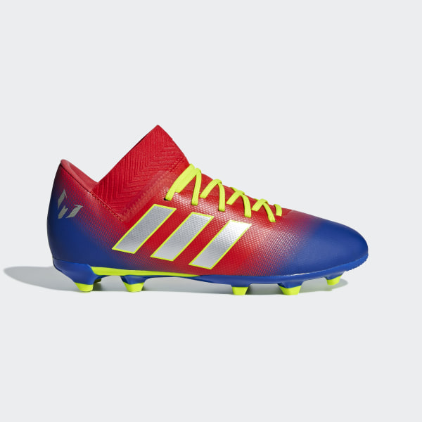 CHUTEIRA NMZ MESSI 18 3 FG JR Active Red   Silver Met.   Football Blue 3a52e2ab793a9