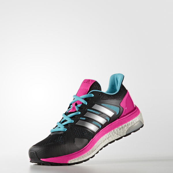 59873851b Supernova ST Shoes Core Black   Silver Metallic   Shock Pink BB1001