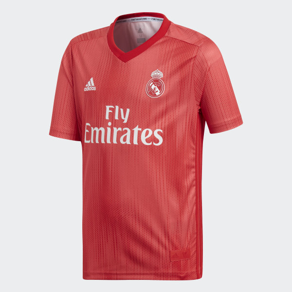 Terceira Camisola do Real Madrid – Júnior Real Coral   Vivid Red DP5446 464b333242b4d