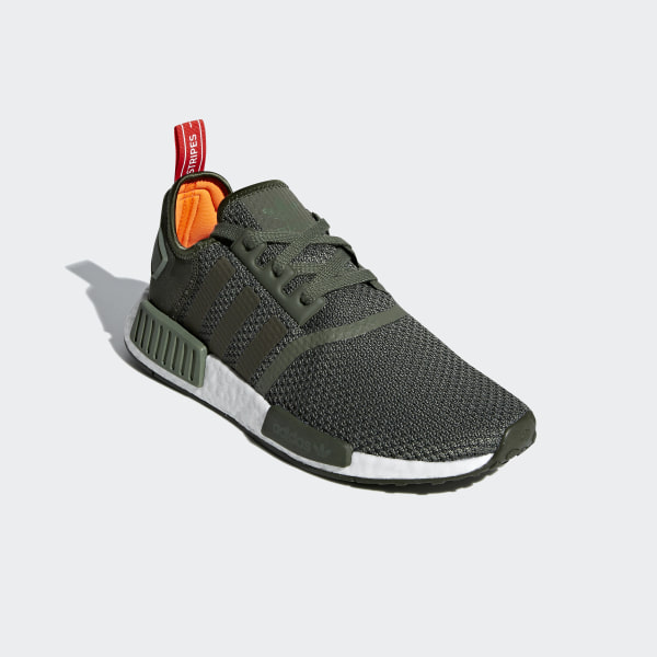 2450ff6f5af10 NMD R1 Shoes Base Green   Night Cargo   Solar Orange B37620