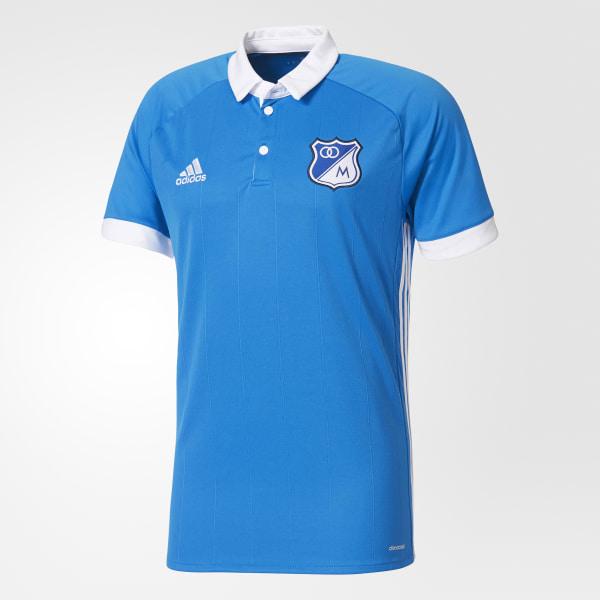 Playera Polo Uniforme Local Millonarios FC SHOCK BLUE S16 WHITE B43337 83ed38ced15bd