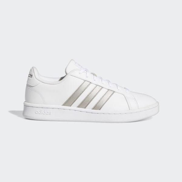 ea733d39a Grand Court Shoes Ftwr White   Platin Met.   Ftwr White F36485